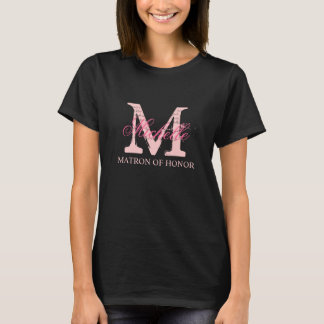 Monogram matron of honor t shirts | pink and black