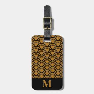 Monogram Matte Gold Art Deco Scallop Fish Scales Bag Tags