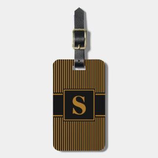 Monogram Matte Gold/Black Pinstripe Tags For Luggage