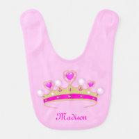 Monogram Matte Gold, Pink, White Princess Crown Baby Bib