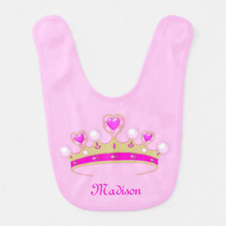 Monogram Matte Gold, Pink, White Princess Crown Baby Bib