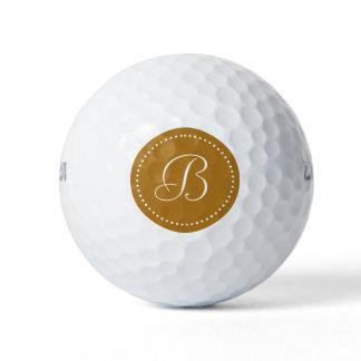 Monogram Matte Gold with Dots Golf Balls