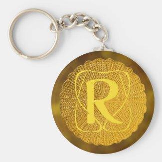 monogram - medallion basic round button keychain