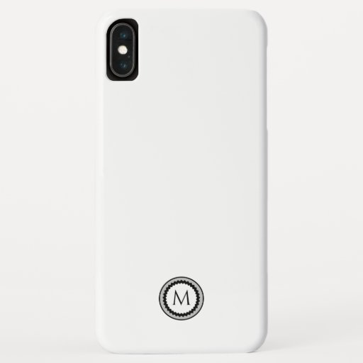 Monogram Medallion | Simple Black White & Gray iPhone XS Max Case