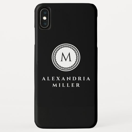 Monogram Medallion Simple Black & White with Gray iPhone XS Max Case