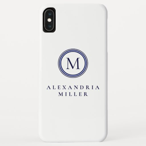Monogram Medallion | Simple Blue & White | Name iPhone XS Max Case