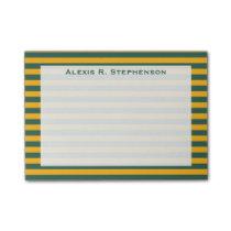 Monogram Medium Green and Gold Yellow Stripe Post-it Notes
