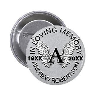 Monogram | Memorial | Angel Wings Button