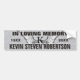 Monogram Memorial Angel Wings Car Bumper Sticker