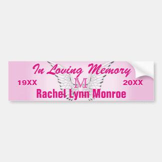 Monogram Memorial Angel Wings Pink Bumper Sticker