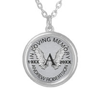 Monogram | Memorial | Angel Wings Round Pendant Necklace