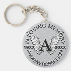 Monogram | Memorial | Silver Angel Wings Keychain at Zazzle