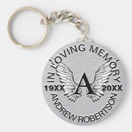 Monogram   Memorial   Silver Angel Wings Keychain
