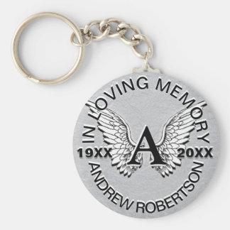 Monogram | Memorial | Silver Angel Wings Keychain