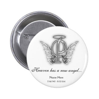Monogram Memorial Tribute Letter P Button