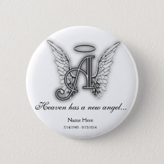 Monogram Memorial Tribute Ornament A Button