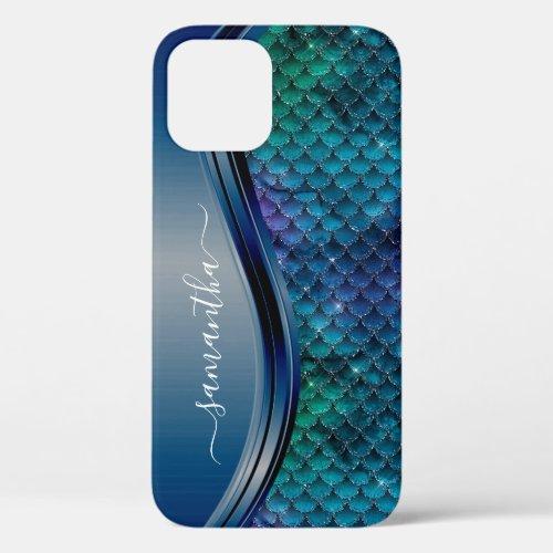 Monogram Mermaid Scale Purple Navy Blue Phone Case