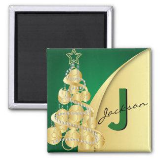 Monogram Merry Christmas 2 Inch Square Magnet