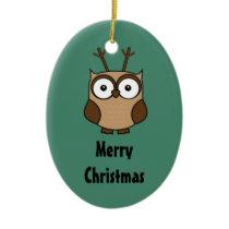 Monogram Merry Christmas Owl Reindeer Ceramic Ornament