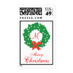 Monogram Merry Christmas Postage Stamp Wreath