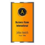 Monogram Metal Frame Yellow Business Card