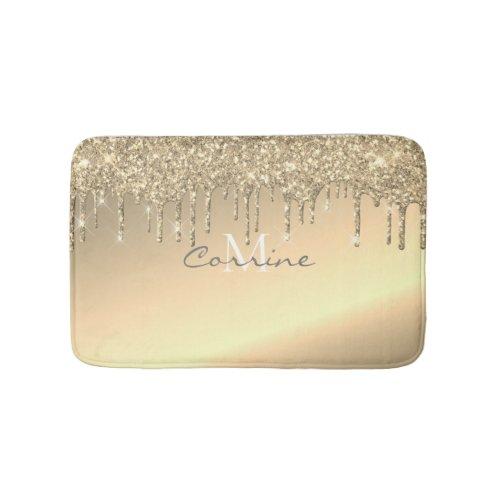 Monogram Metallic 14K Gold Glitter Dripping (Rug) Bath Mat