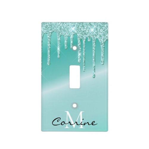 Monogram Metallic Aqua Blue Dripping Teal Glitter Light Switch Cover