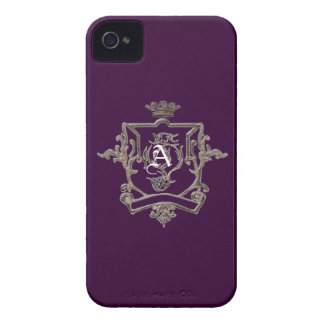 Monogram Metallic crest on color  Iphone 4 case