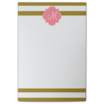 Monogram Metallic Gold and Pink Striped Pattern Post-it Notes