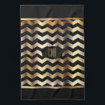 "Monogram Metallic Gold &amp; Black Stripe Chevron Kitchen Towel<br><div class=""desc"">Hand Towels. 100% Customizable. Ready to Fill in the box(es) or Click on the CUSTOMIZE button to add, move, delete or change any of the text or graphics. Made with high resolution vector and/or digital graphics for a professional print. NOTE: (THIS IS A PRINT. All zazzle product designs are &quot;prints&quot;...</div>"
