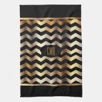 Monogram Metallic Gold & Black Stripe Chevron Kitchen Towel