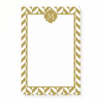 Monogram Metallic Gold Herringbone Pattern Post-it Notes