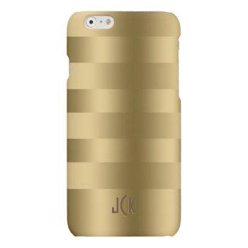 Monogram Metallic Gold Stripes Pattern Matte iPhone 6 Case