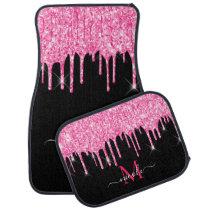 Monogram Metallic Hot Pink Dripping Glitter Black Car Floor Mat