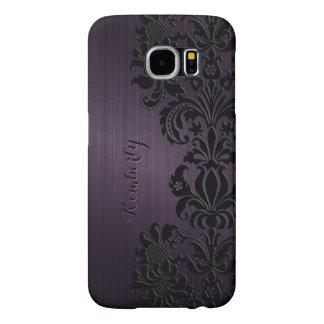 Monogram Metallic Purple Black Lace Accents Samsung Galaxy S6 Case