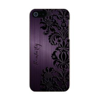 Monogram Metallic Purple Black Lace Metallic Phone Case For iPhone SE/5/5s