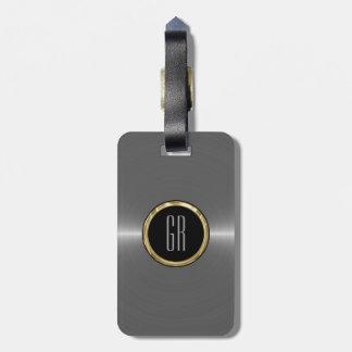 Monogram Metallic Silver Stainless Steel Look Bag Tag