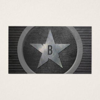 Monogram Military Star Cool Grunge Metallic Business Card