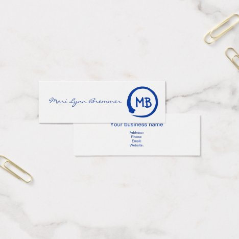Monogram minimalist zen businesscards in blue mini business card