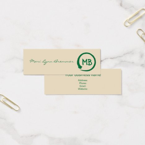 Monogram minimalist zen businesscards in green mini business card