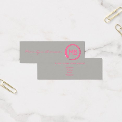 Monogram minimalist zen businesscards in pink mini business card