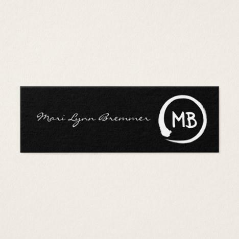 Monogram minimalist zen businesscards in white mini business card