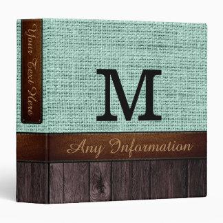 Monogram Mint Burlap Rustic Jute Look Wood Binder