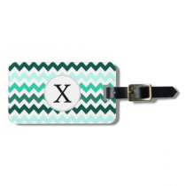 Monogram Mint Chevron ZigZag Pattern Bag Tag