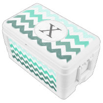 Monogram Mint Chevron ZigZag Pattern Chest Cooler