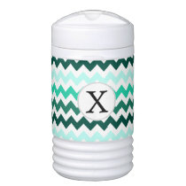 Monogram Mint Chevron ZigZag Pattern Cooler