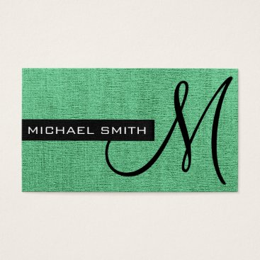 Professional Business Monogram Mint Elegant Canvas #2 Business Card