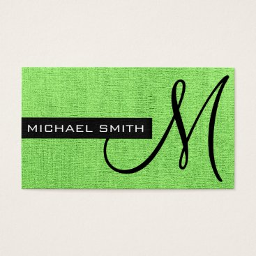 Professional Business Monogram Mint Elegant Canvas Business Card