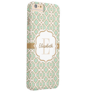Monogram Mint Green and Gold Quatrefoil Barely There iPhone 6 Plus Case