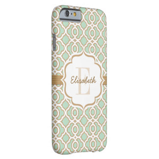 Monogram Mint Green and Gold Quatrefoil Barely There iPhone 6 Case